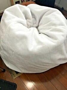 EXTRA LARGE WHITE FUR BEAN BAG FAUX FUR BEAN BAG COVER 120cm d x 130cm high