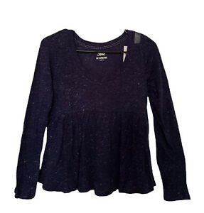 Justice Girls Navy Blue Babydoll Top Long Sleeves Shimmers Of Silver Size 14
