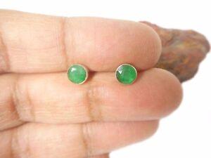 Green Round  EMERALD  Sterling  Silver  925  Gemstone Stud earrings -  5 mm