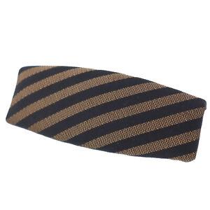 FENDI Stripe Pattern Barrette Hair Clip Black Brown Nylon Canvas Auth #AC109 O