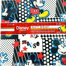 Vintage Disney MICKEY MOUSE Cleo Gift Wrapping Paper 2 Sheets Total 1 Pack