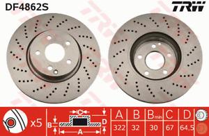 TRW Brake Rotor Front DF4862S fits Mercedes-Benz C-Class C 250 CDI 4-matic (S...