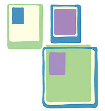 Cool Groovy Modern Blue Green Purple Squares 25 Wallies Decorate Walls Stickers