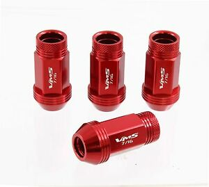 VMS 20 PIECE RACE LIGHT WEIGHT WHEEL RACING LUG NUTS 7/16 -20 RED OPEN END