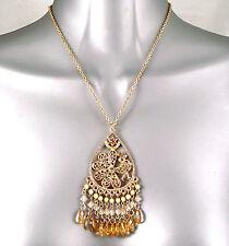 Gold Plt Ethnic Deco Nouveau Filigree Star Peacock Pendant w/ Swarovski Crystals