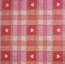 Red & Brown Tartan Heart Print PVC Tablecloth Oilcloth Fabric *Per Metre
