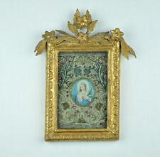 """Klosterarbeit """"María Inmaculada"""", para 1800, marco de madera, acuarela, 29/23 cm"""