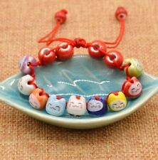 FD4744 Ceramic Lucky Cat Beads Charm Bracelets For Fortune Health Adjustable