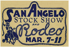 San Angelo Stock Show & Rodeo Mar 7-11 Print 13x19 - Vintage Image