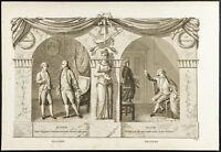 1825 - Grabado Antigua Molière & Jean-François Regnard - Teatro