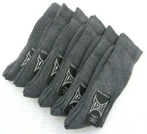 TapouT Crew Socks PST46 Grey  6-pack   Fits Sock Size 10-13   Shoe Size 6-12.5
