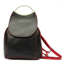 Sac à dos cuir veritable noir et rouge NEUF Made in Italy Backpack Citybag