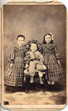 CDV OF TWIN GIRLS IN MATCHING DRESSES W/ DIFFERENT HAIR   BROTHER- COLUMBIA, PA
