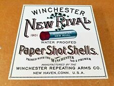 "VINTAGE WINCHESTER NEW RIVAL SHOTGUN SHELL 12"" METAL AMMUNITION GUN AMMO SIGN"