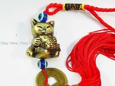 Feng Shui Chinese Oriental Lucky Wealth Good Luck Coin Cat Fish Amulet Charm #CF