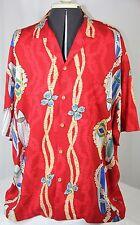Vintage Paradise Found Hawaiian Shirt Red Surf Board Pipeline Waikiki Men XL