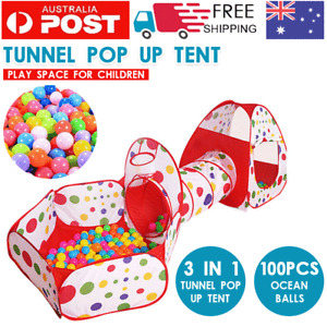 3 in 1 Play Tent Toddlers Tunnel Set Pop Up Child Baby Cubby Ball Playhouse Toy