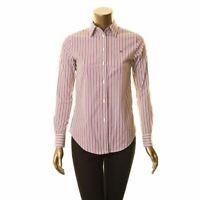 LAUREN RALPH LAUREN NEW Women's Stretch Non Iron Button Down Shirt Top XXS TEDO