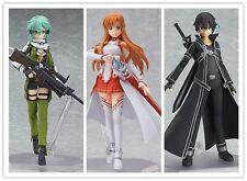 Sword Art Online 3pcs Figma Sinon 241 Asuna 178 Kirito 174 PVC Figure New in Box