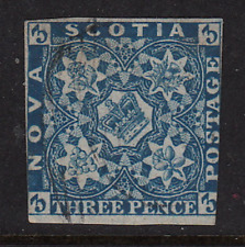 Nova Scotia 1857 Imperforate #3  Used Fine  CV $200.00  See*