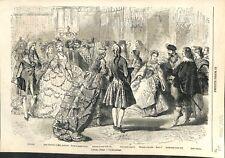 Bal Costumé Hiver Paris Louis XV Dame d'Honneur de Marie-Antoinette GRAVURE 1866