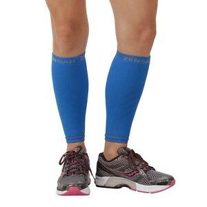 Zensah Leg Sleeves, Shin Splint Running Compression Calf Sleeves - Blue (Pair)