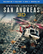 San Andreas (Blu-ray 3D + Blu-ray + DVD + UltraViolet - 10/13/2015) NEW