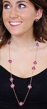 """Kate Spade Disco Pansy Scatter 32"""" Long Necklace & EARRINGS SET PURPLE enamel"""