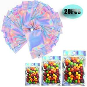 20 Pc 3 Sizes Holographic Rainbow Laser Double-Sided Small Mylar Foil Bags US