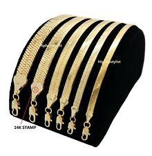 "Flat Herringbone Chain 14K Gold Finish 4mm to 11mm 18"" 20"" 24"" 30"" Necklace"