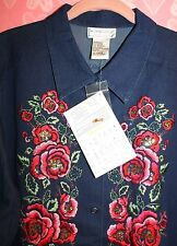 VICTOR COSTA WOMEN'S L *NWT* BLUE JEAN JACKET SHIRT ROSES & CRYSTALS SNAP CLOSE