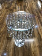 64cm Tall Silver Crystal Side Table Modern Glass Stand Bed Side Sparkle Romany