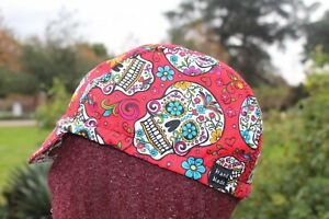 Cycling cap sugar skull color red one size or any size HANDMADE