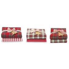 Mud Pie H0 Classic Christmas Tartan & Ticking Stripe Dish Towel Set 41500001