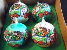 4 Vintage Bradford Unbreakable Satin Santa's Express Ornaments PIXIE ELVES Train