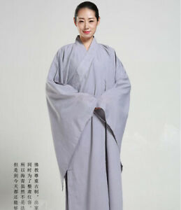New Buddhist Monk Shaolin Kung Fu Suit Meditation Haiqing Robe Long Gown Dress