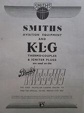 3/1947 PUB SMITHS AVIATION EQUIPMENT KLG IGNITER PLUGS BRISTOL THESEUS ENGINE AD