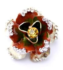 Enamel flower brooch pin sparkles with crystals - Red.