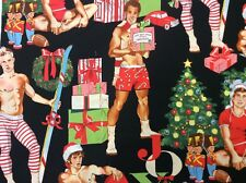 AH290 Sexy Pin Up Guys Stocking Stuffer All I Want Christmas Cotton Quilt Fabric