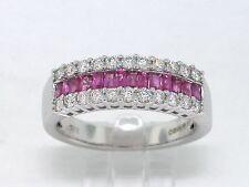 Rubin Ring 750 Weißgold 18Kt Gold 14 Rubine 22 Brillanten Bandring  Memory Ring
