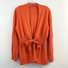 J. Mclaughlin 100% Cahsmere Orange Tie Front Reagan Cardigan Sweater Size Large