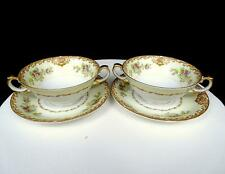 """MEITO CHINA JAPAN 4 PIECE MULTI FLORAL AND SCROLLING 5"""" CREAM SOUPS WITH SAUCERS"""