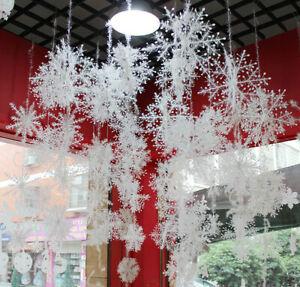 30xSchneeflocken 11cm Snowflakes Weihnachtsbaumdeko Christbaumschmuck Aufhängen