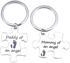 LUOEM Keychain Mommy Daddy of an Angel Keyring Set Miscarriage Keepsake Baby