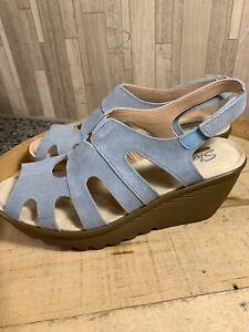 Skechers 9M Suede Lace-Up Peep Toe Wedges Stylin Lt Blue