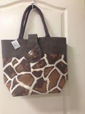Brown Burlap Giraffe Print Bag 16x13