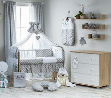 Babybett mit 7-tlg Komplett-Set Bestickte Bettwäsche Babybettset Himmel120 x 90