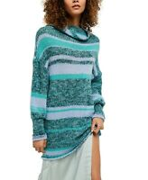 Free People Womens XS Candy Stripe Tunic Cowl Neck Sweater Knit NWT Blue Combo