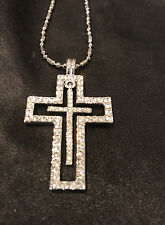 Cross Necklace with clear stones god gothic ring bracelet earings hat scalves