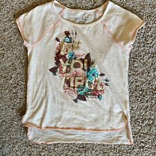 MISS ME Soft Peach Color Lightweight Shirt YOUTH Sz 10-12 VGUC